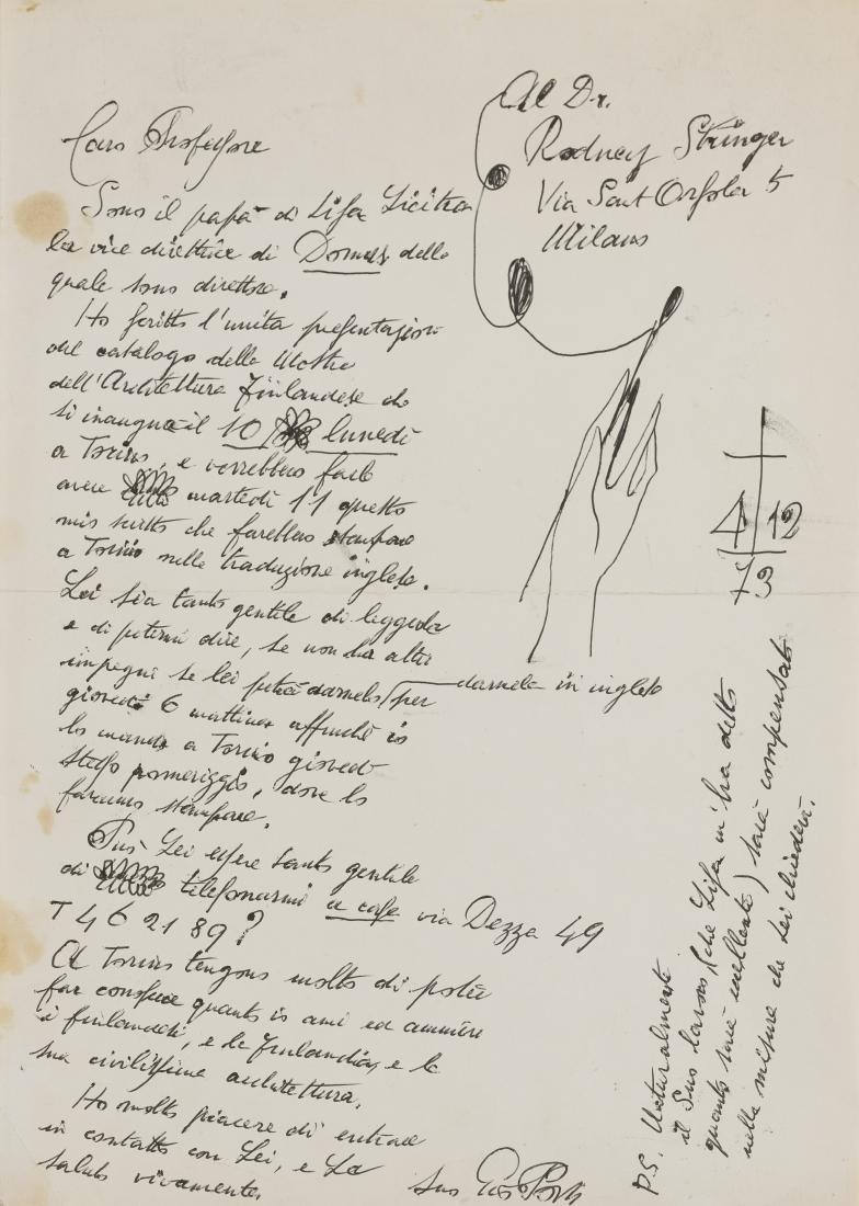 Gio Ponti (Milano 1891 - Milano 1979)Lettera autografa
