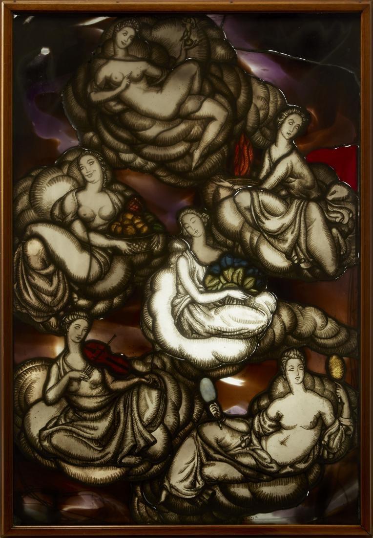"""Pietro Chiesa """"Le nuvole""""Vetrata raffigurante scena"""