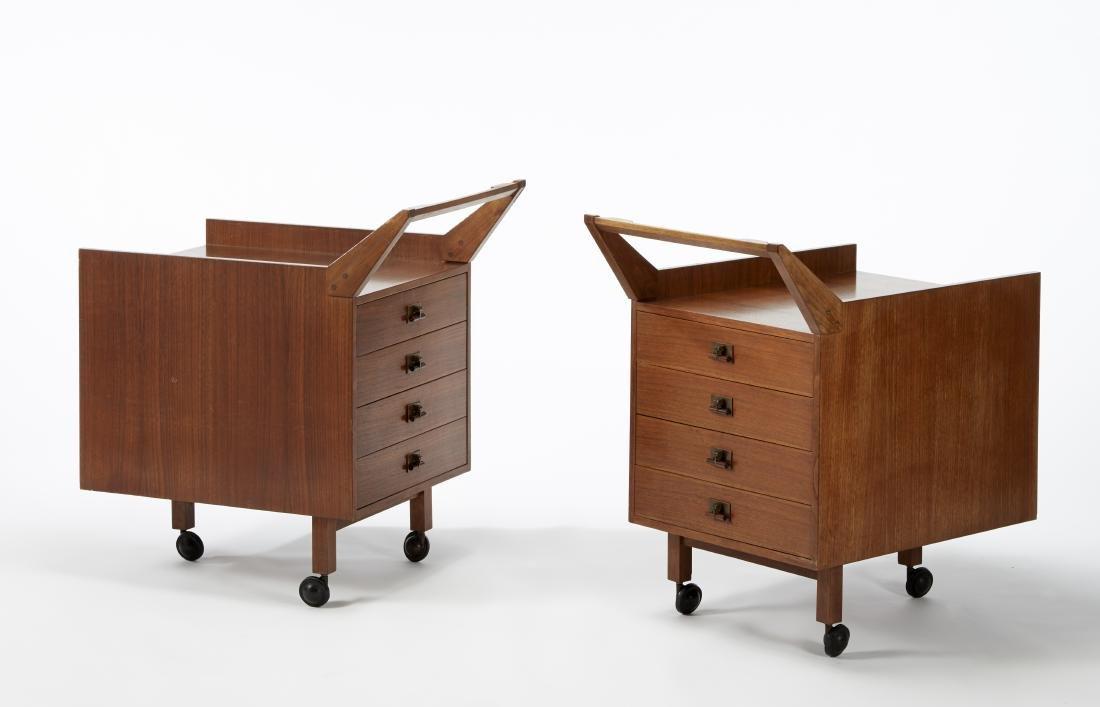 Franco Albini Coppia di cassettiere a carrello modello