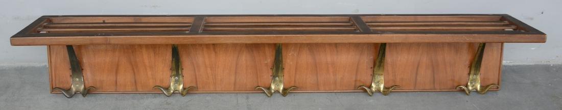 Appendiabiti pensile in legno e ottone. Italia, anni