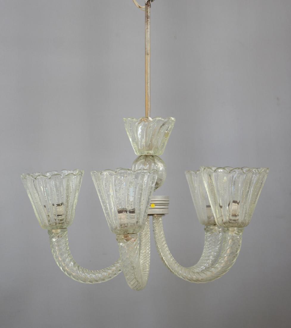 Seguso Lampadario in vetro soffiato incolore a cinque