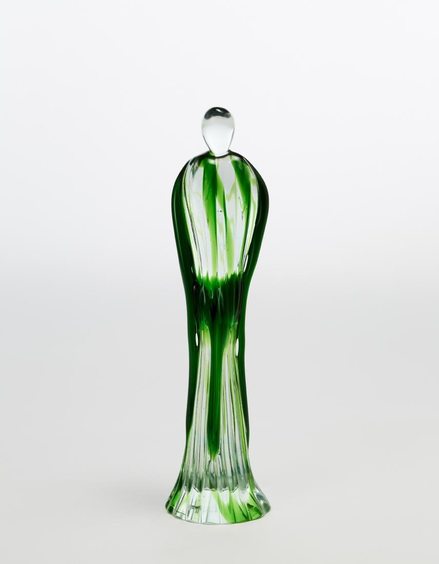 Seguso Colourless and green sommerso glass statuette.