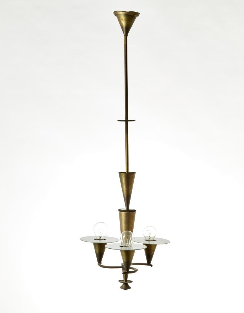 Lampadario a tre luci stile Novecento in ottone e vetro