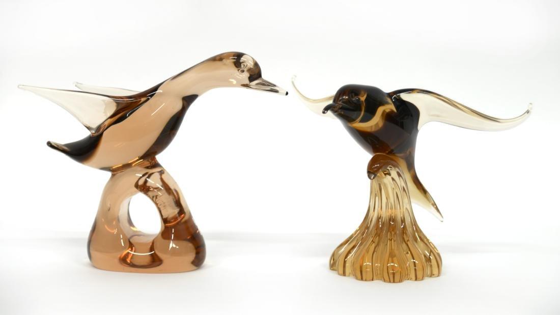 Nason Lotto di due sculture in vetro massello ambrato