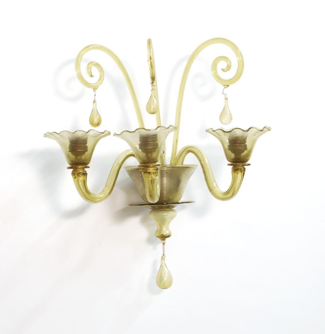 Manifattura di Murano Applique a tre luci in vetro