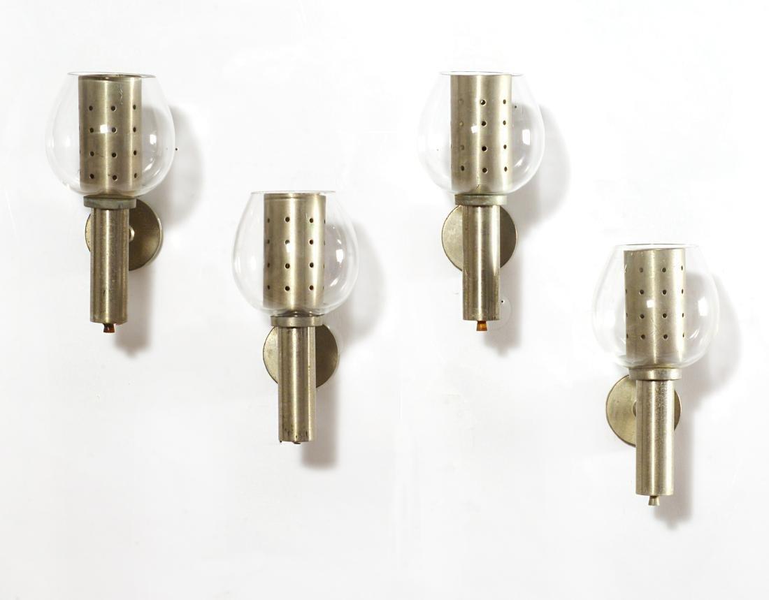Alfredo Borghi Quattro appliques in metallo cromato con
