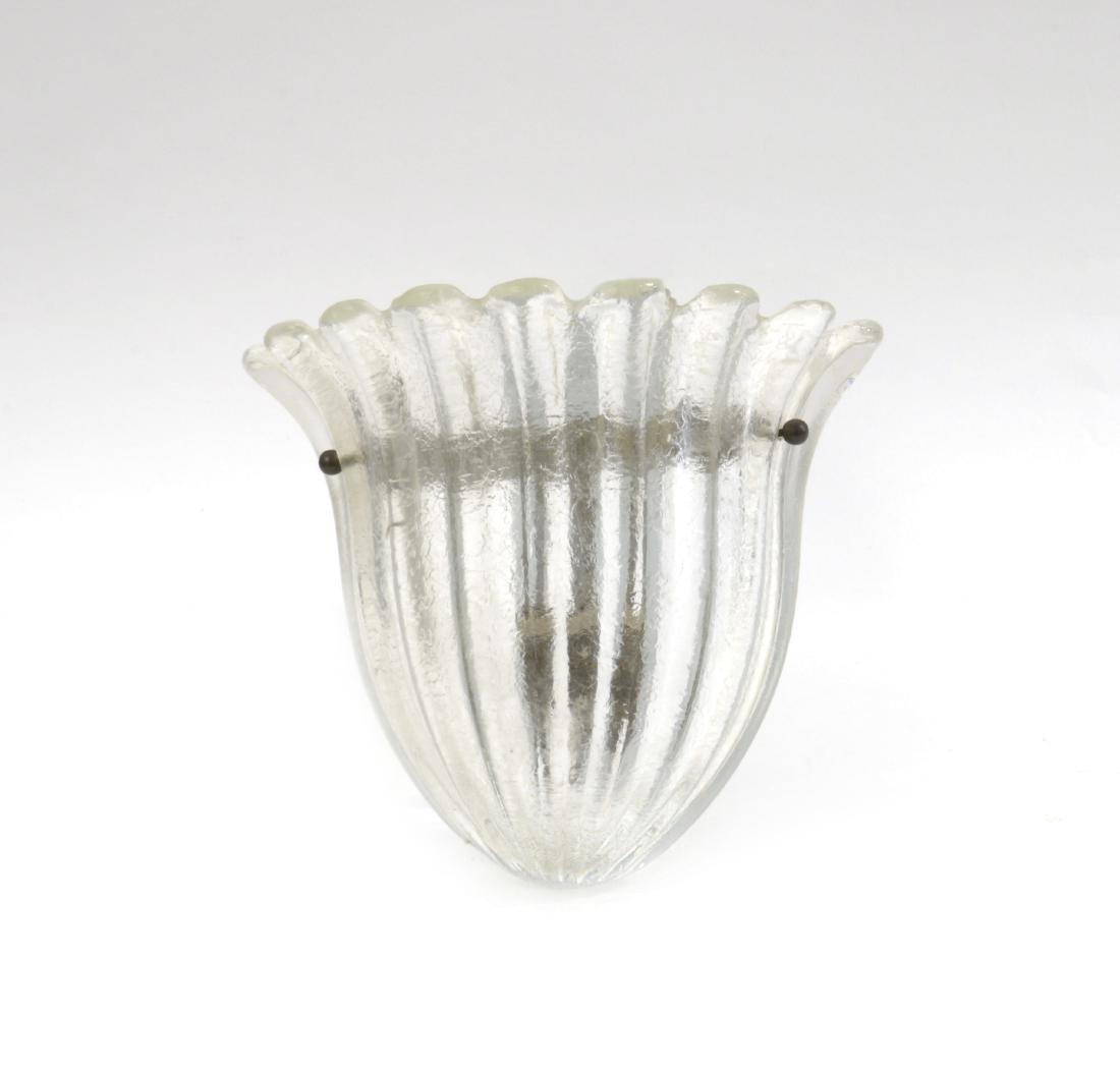 Seguso Applique in vetro incolore costolato e corroso