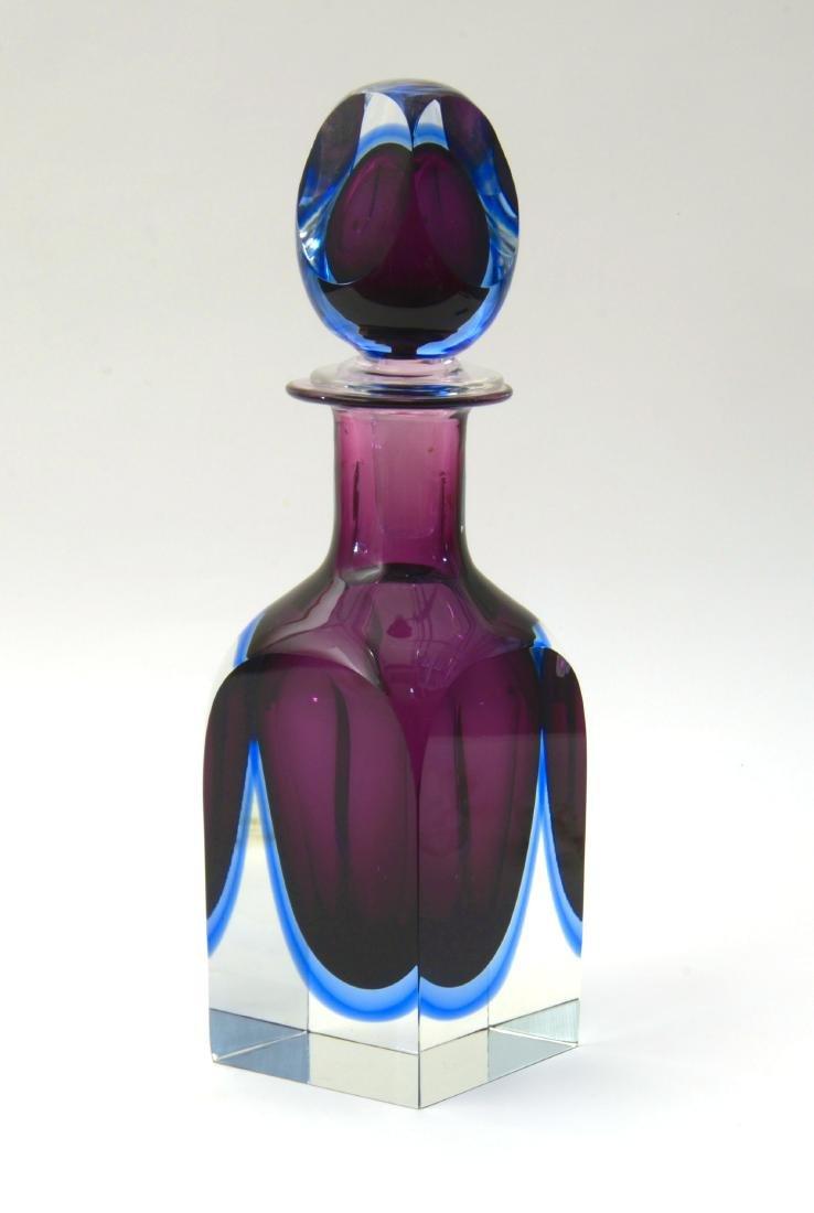 Seguso Grande bottiglia in vetro sommerso incolore