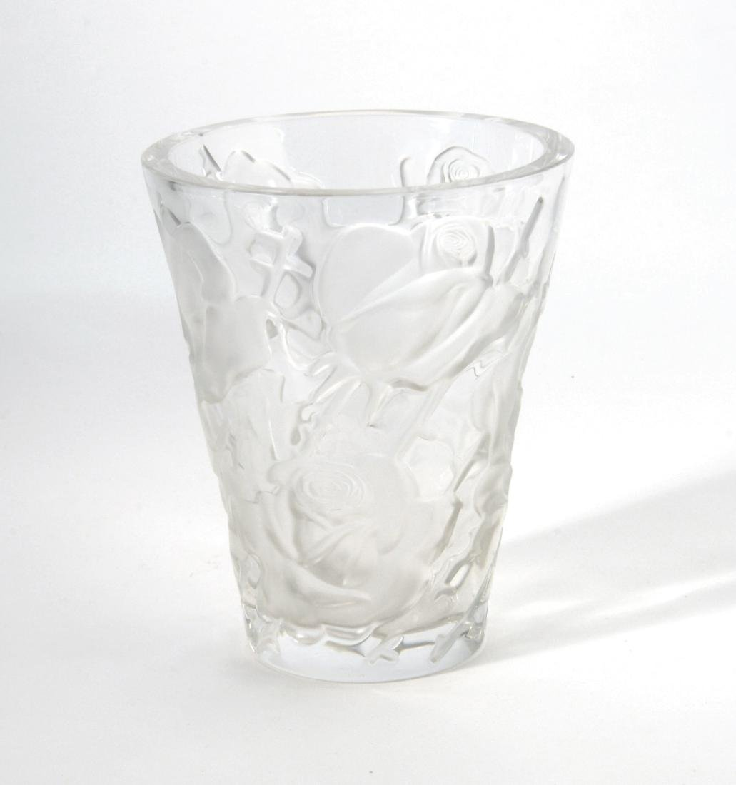 Lalique Vaso troncoconico in vetro trasparente con