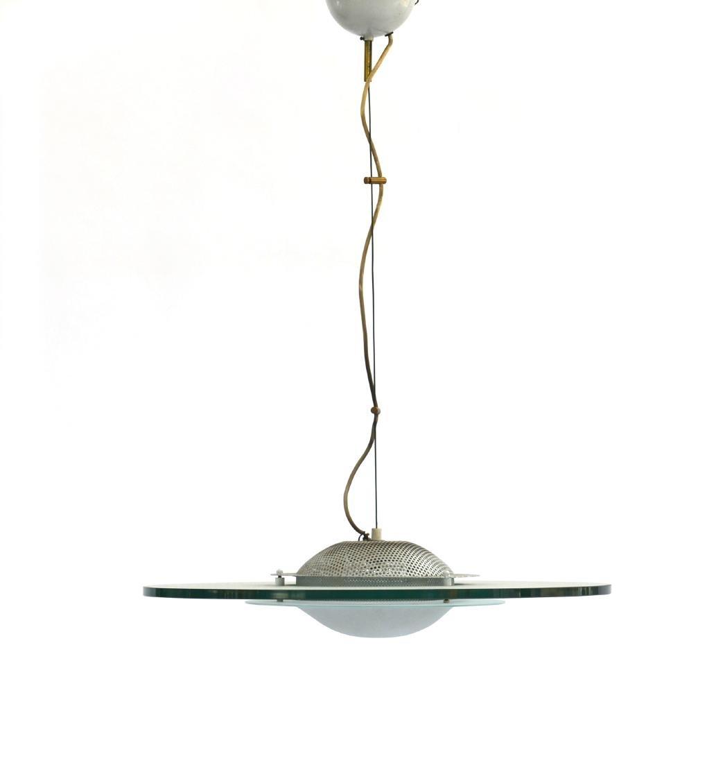 Lampada a sospensione con disco in vetro di forte