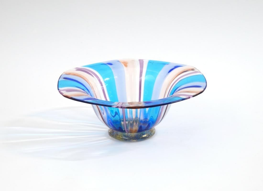 Coppetta con vaso in vetro a canne policrome e