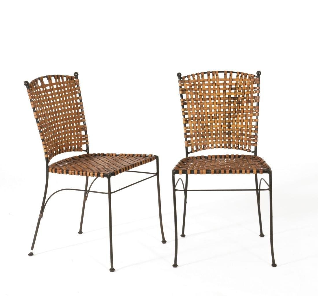 Coppia di sedie in tondino di ferro saldato e seduta e