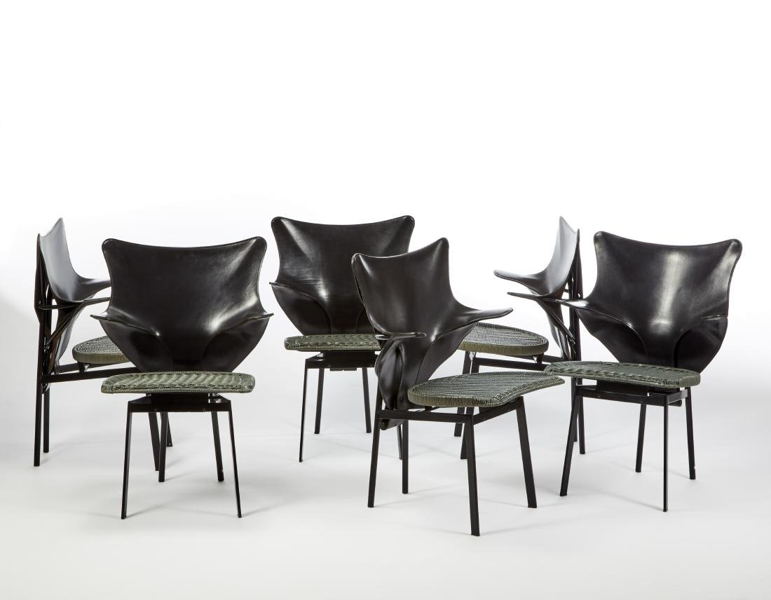 """Paolo Deganello (Este 1940)* Sei sedie modello """"Re""""."""