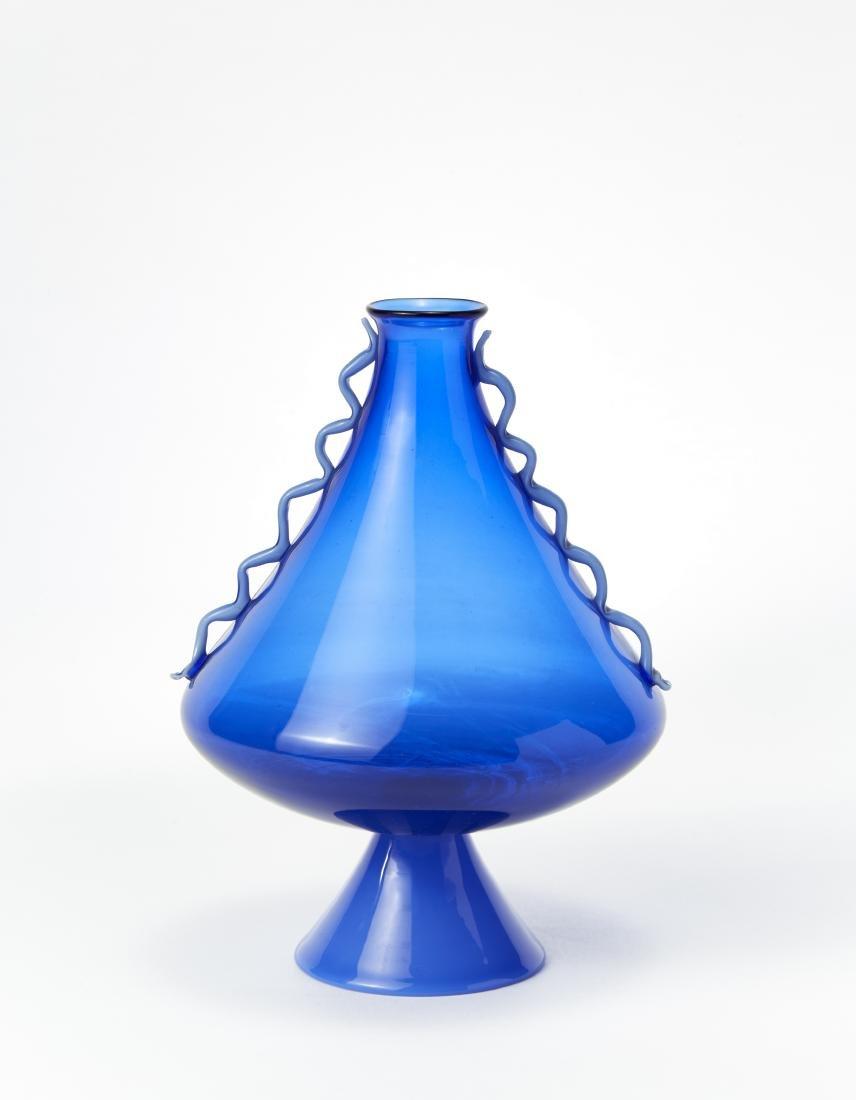 Manifattura di Murano Vaso in vetro trasparente azzurro
