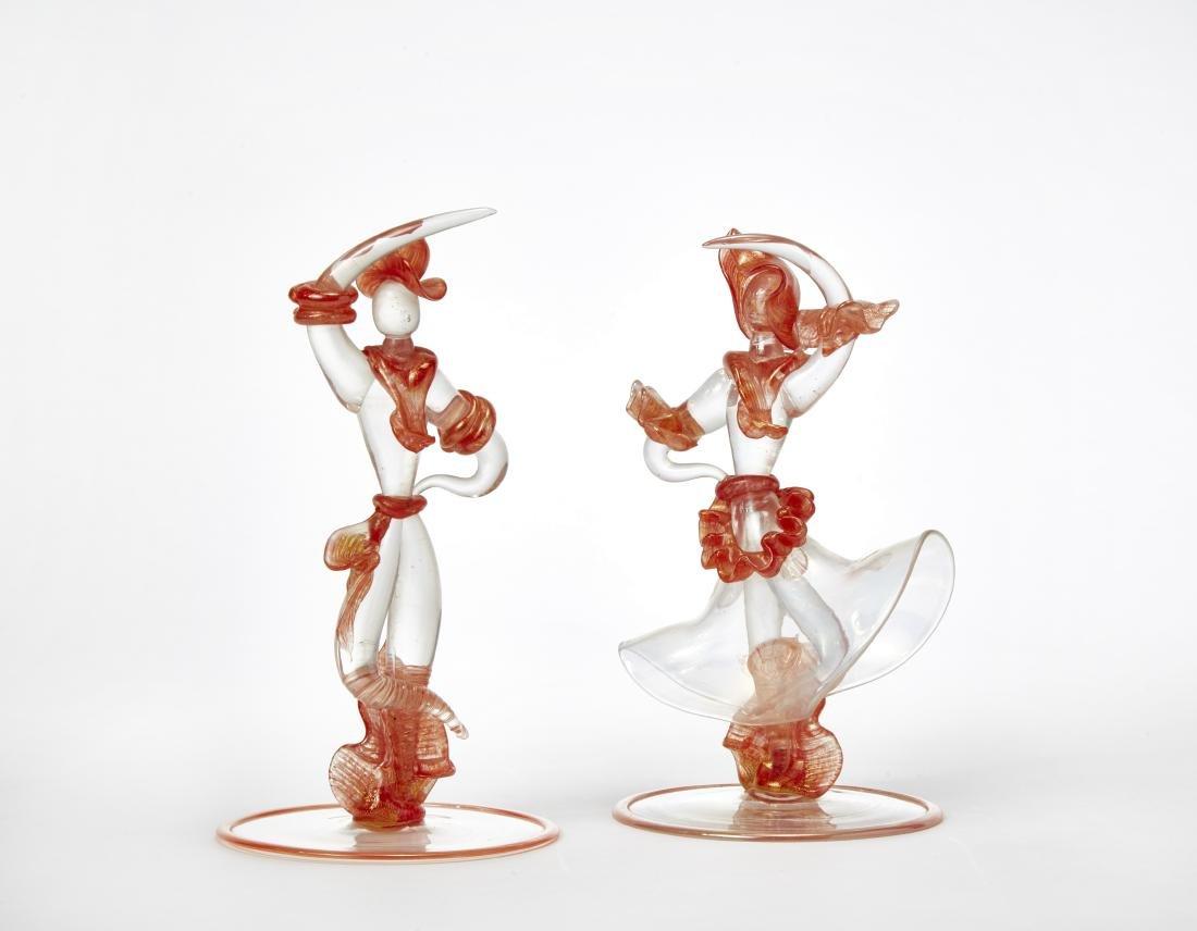 """Seguso """"Coppia danzante""""Due sculture in vetro incolore"""
