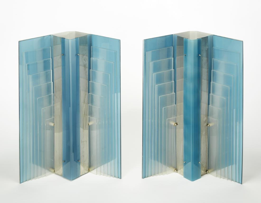 Coppia di lampade angolari da parete o da appoggio in