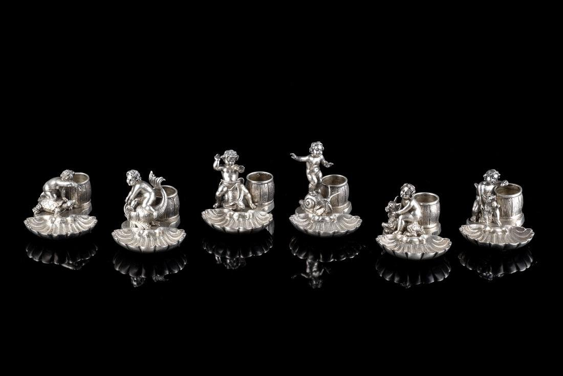 Six silver place card holders. Italy, 20th Century (cm