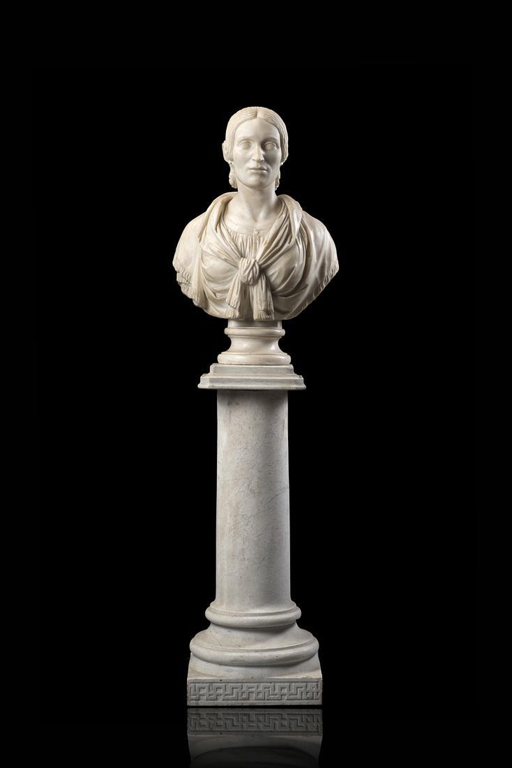 """Early 19th-century sculptor """"Bust of a Lady"""" marble"""