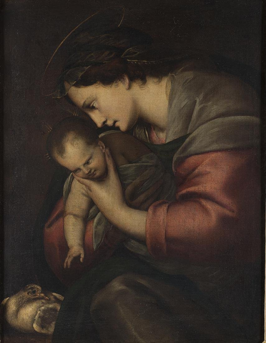18th Century Master  Virgin and Child with a dove Oil