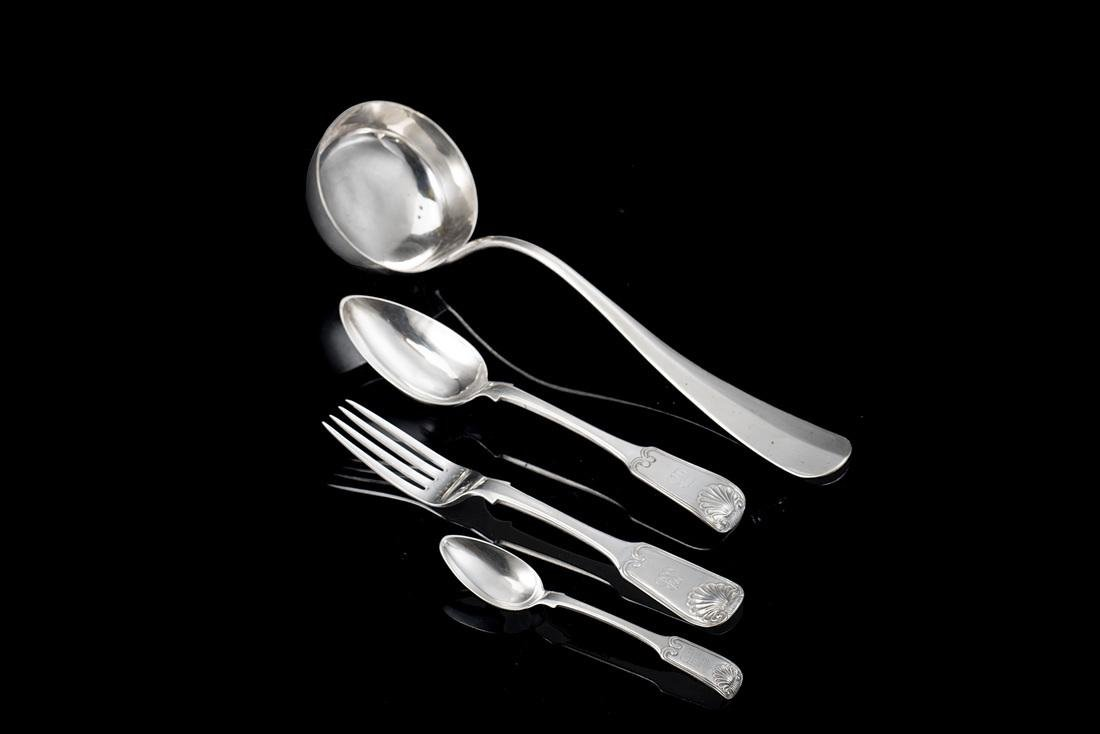 A silver flatware set. Naples, 19th Century. With a