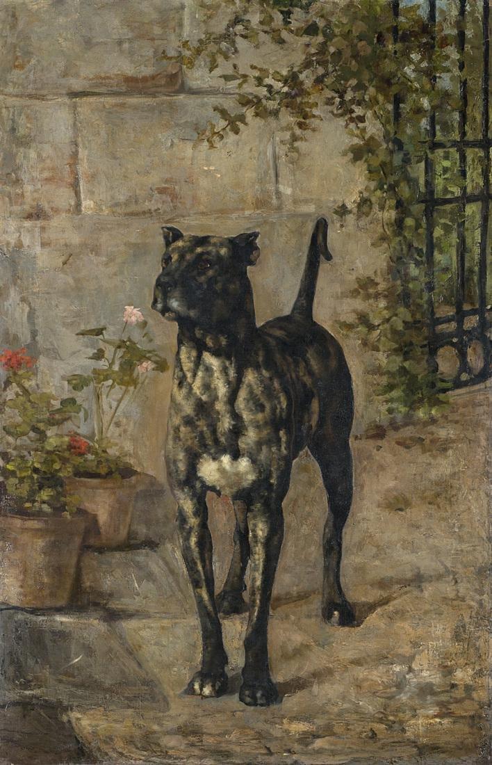 """Bersani """"Corso dog in a garden"""" oil on canvas (cm"""