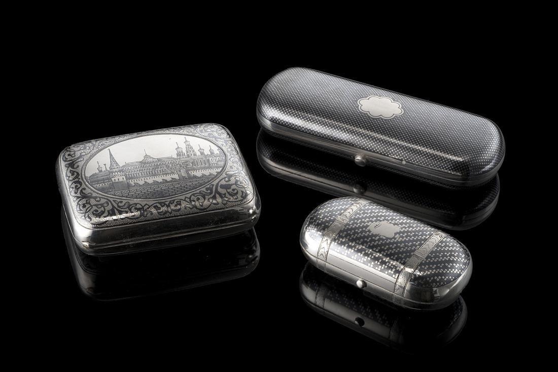 A set of three silver and niello boxes Eropean/ Russian