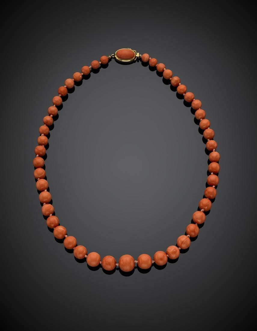 Orange coral graduated bead necklace, orange cabochon