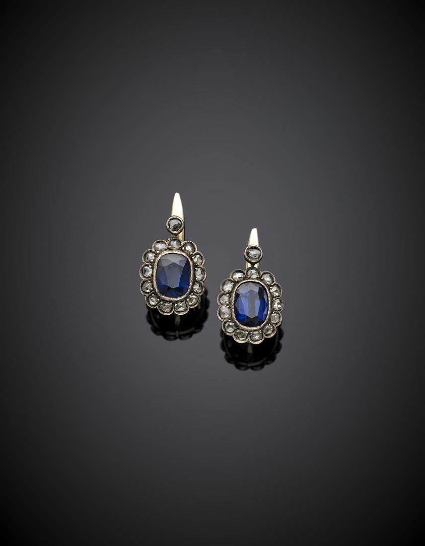 Yellow gold and silver, rose cut diamond and sapphire