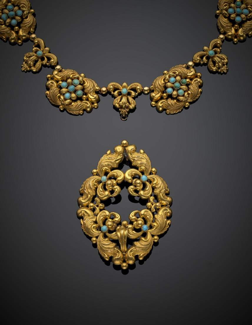 Yellow gold turquoise stamped out scrollwork jewellery