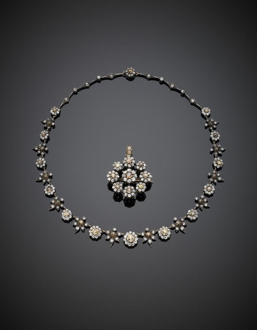 Reddish gold and silver colourless and fancy diamond - 2