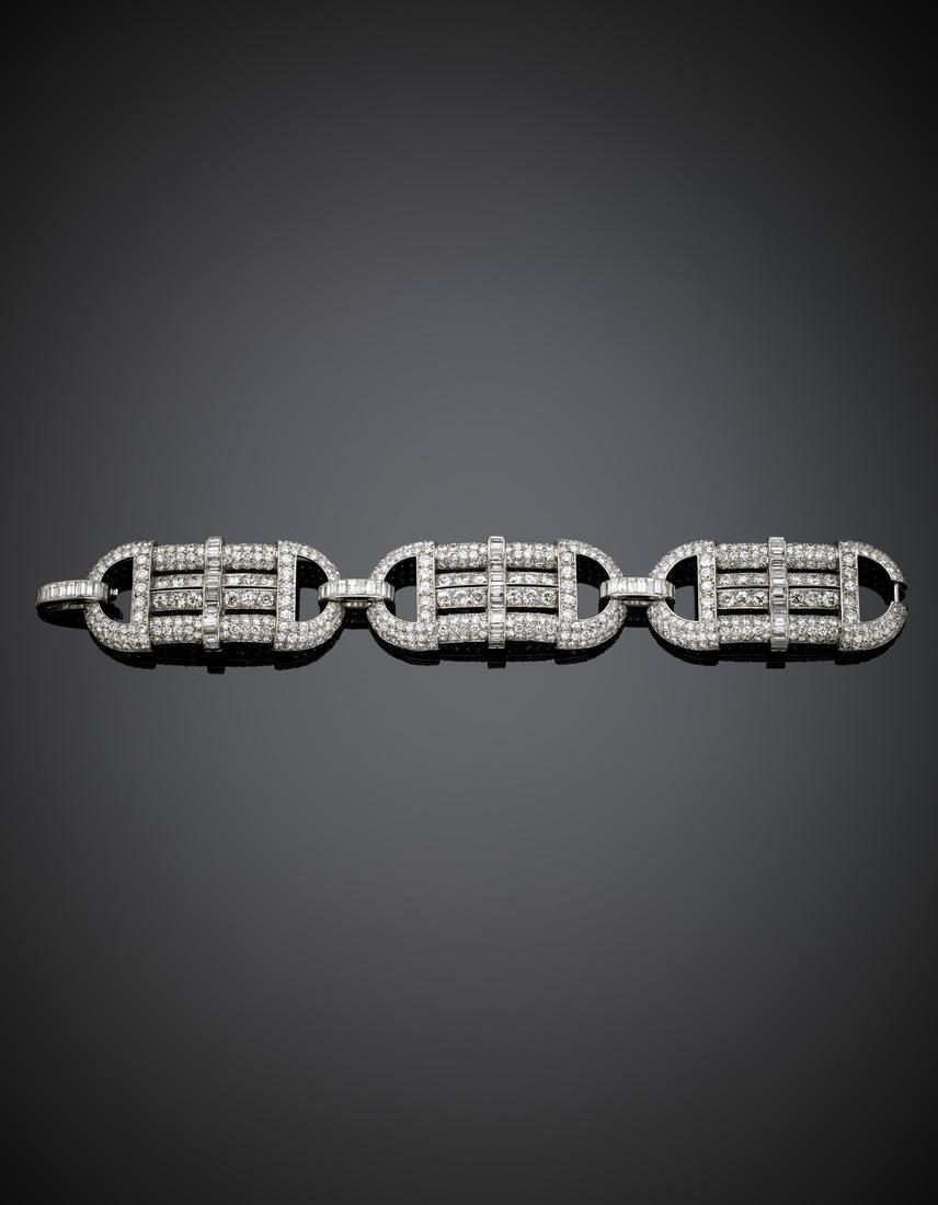 Round and baguette diamond, platinum modular bracelet,,