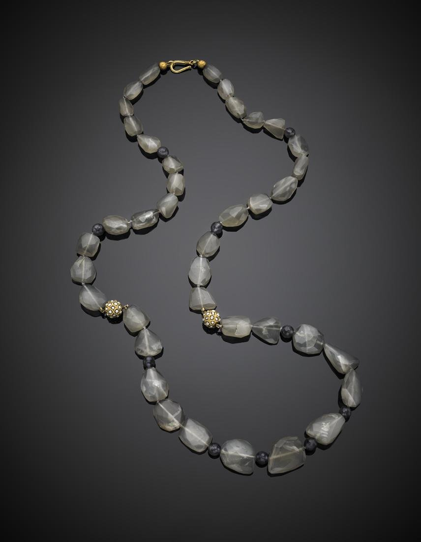 Labradorite and cordierite faceted bead necklace,