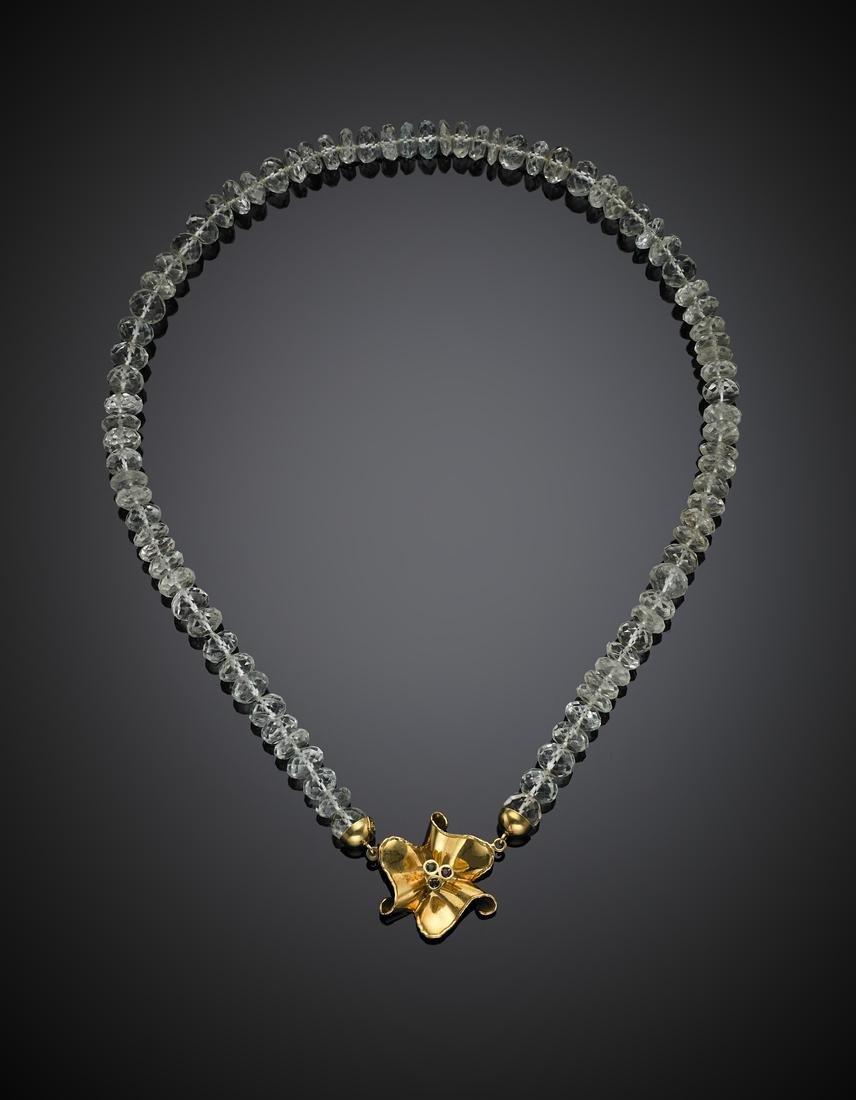 DE REGIBUS Aquamarine faceted bead necklace with yellow