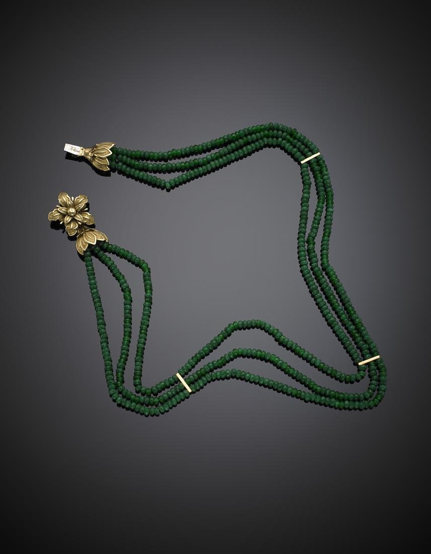Three strand faceted green beryl bead necklace with