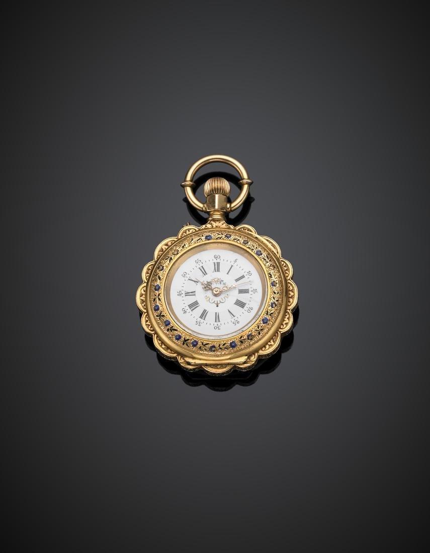 DUBOIS ET C.IE Yellow chiselled gold and enamel pocket - 2