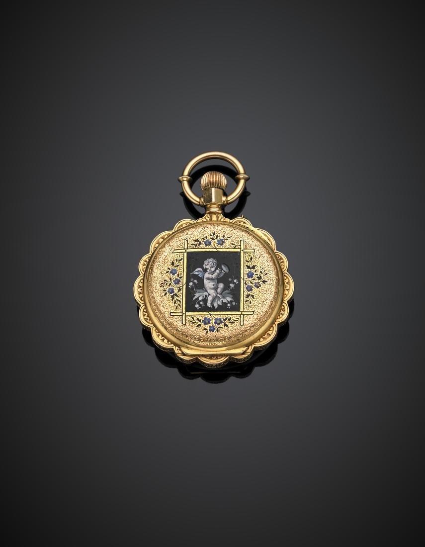 DUBOIS ET C.IE Yellow chiselled gold and enamel pocket - 3