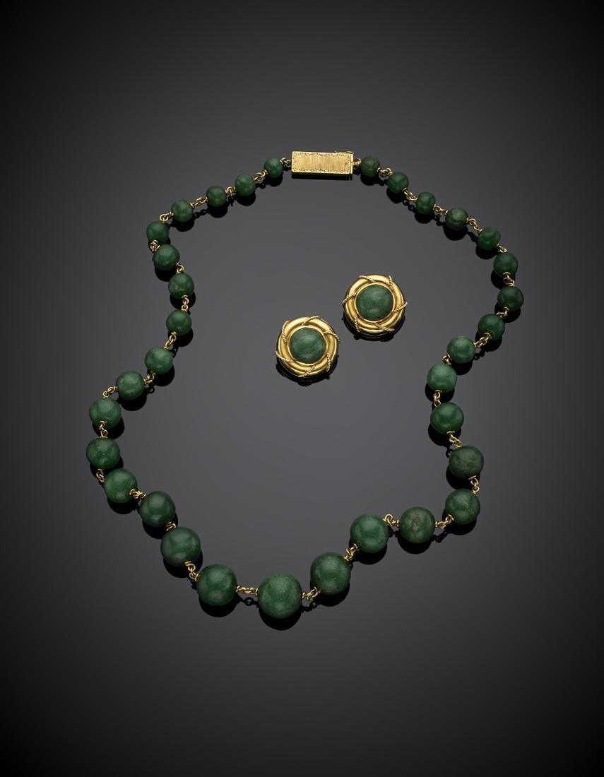 Yellow gold aventurine quartz jewelry set comprising