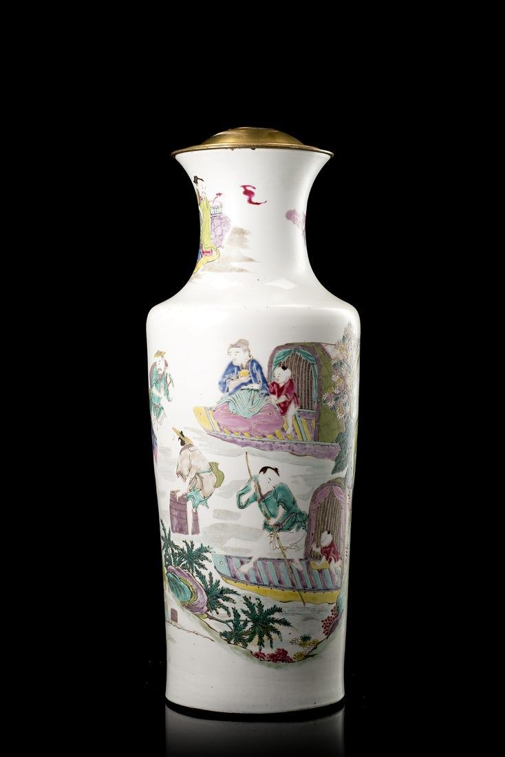 A Famille Rose porcelain vase mounted as a lamp,