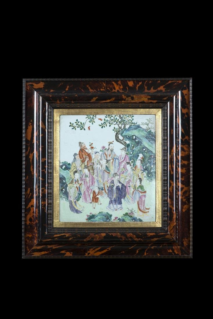 A porcelain plaque decorated in polychrome enamels with
