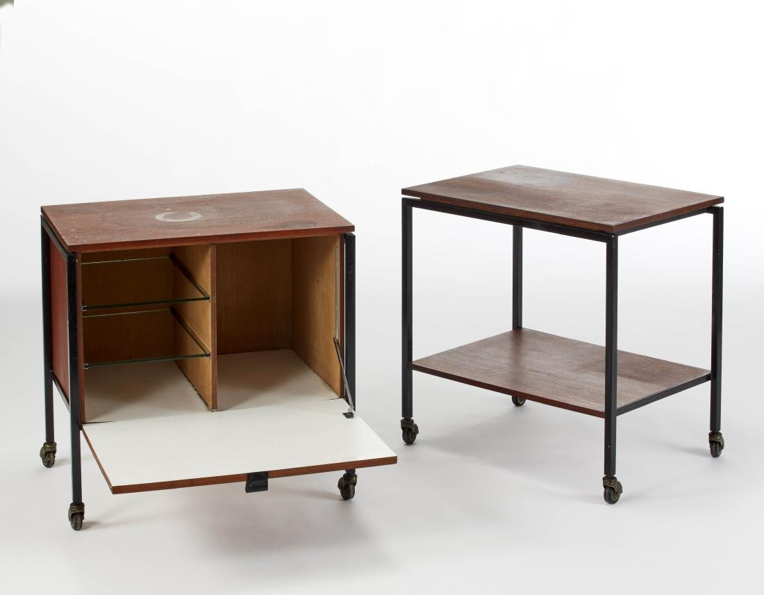 Two trolleys with structure in black lacquered metal,
