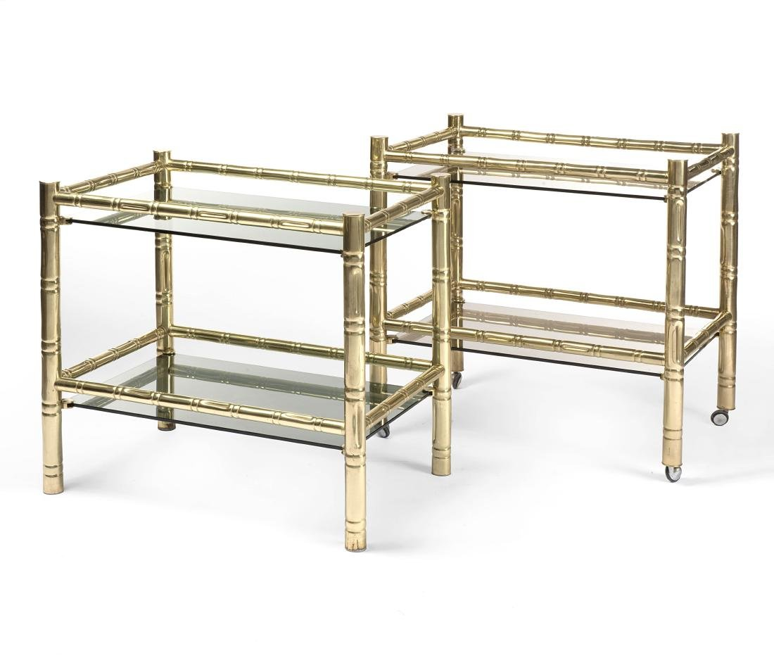 Pair of rectangular coffee tables with polished brass