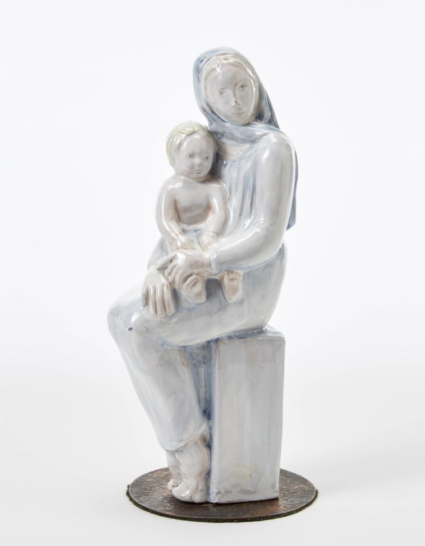 """Giuseppe Mazzotti  """"Donna con bambino"""" Underglaze"""