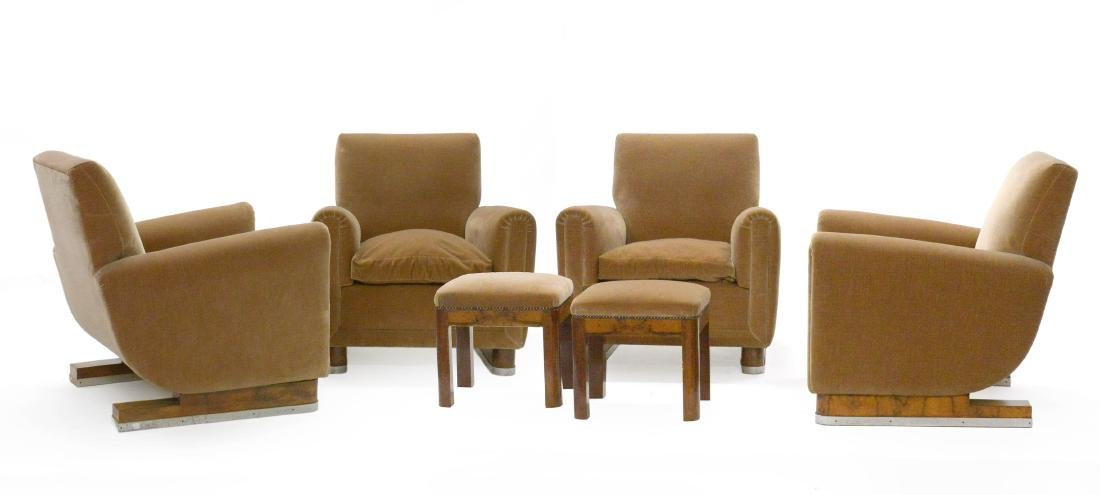 Four upholstered armchairs with walnut structure, sled