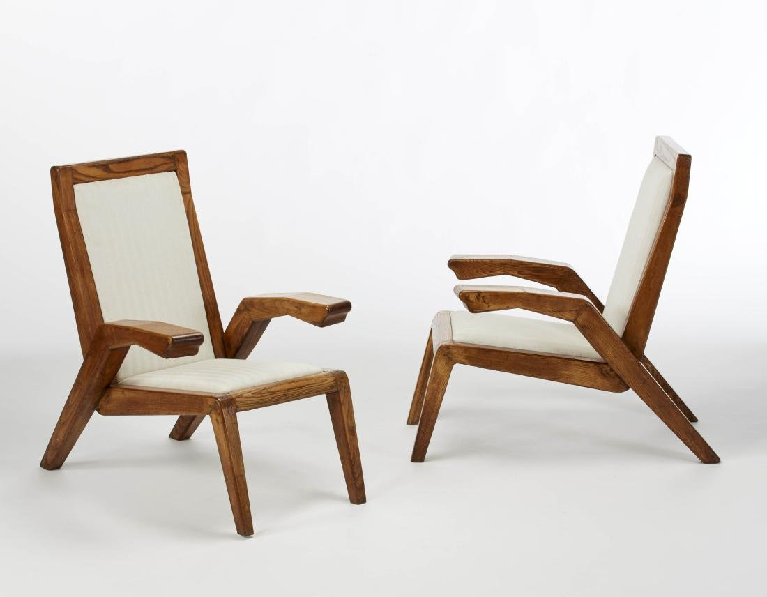 Pair of solid chestnut wood armchairs, upholstered seat