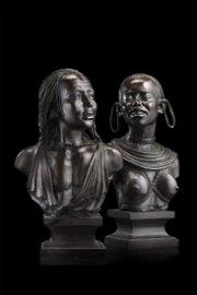 "Vincenzo Cinque (Napoli 1852 - 1929) ""Masai figures"" a"