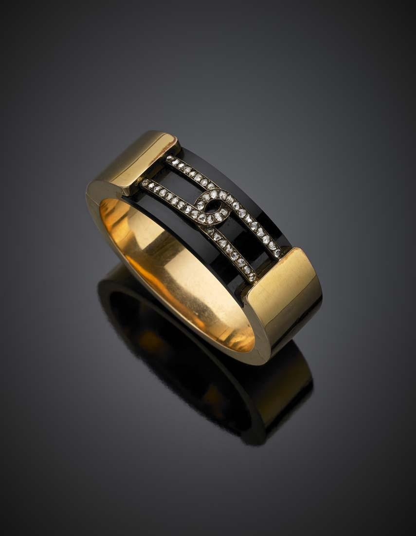 Yellow gold and onyx cuff bracelet, silver and diamonds