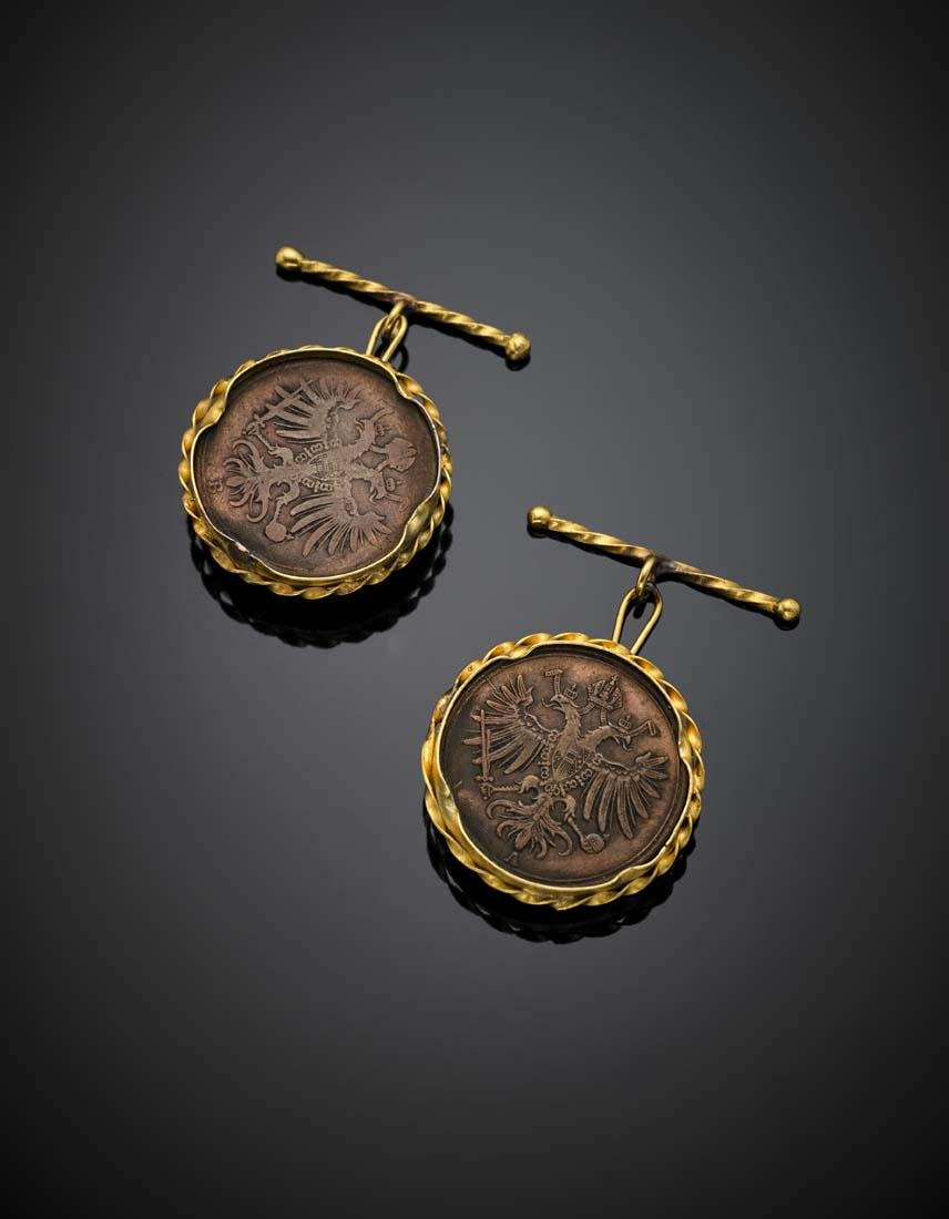 Yellow gold copper coin cufflinks with biceps eagle and