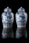 An important pair of blue and white 'soldier vases' and