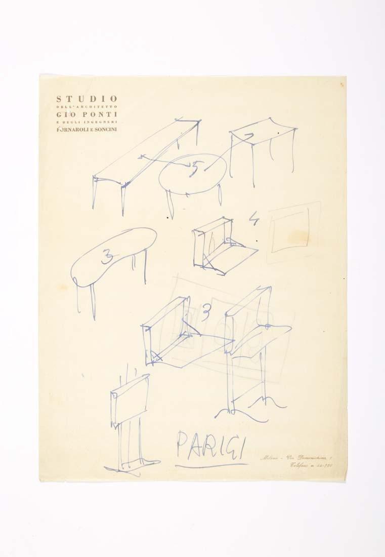 Gio Ponti (Milano 1891 - Milano 1979) Nine drawing of