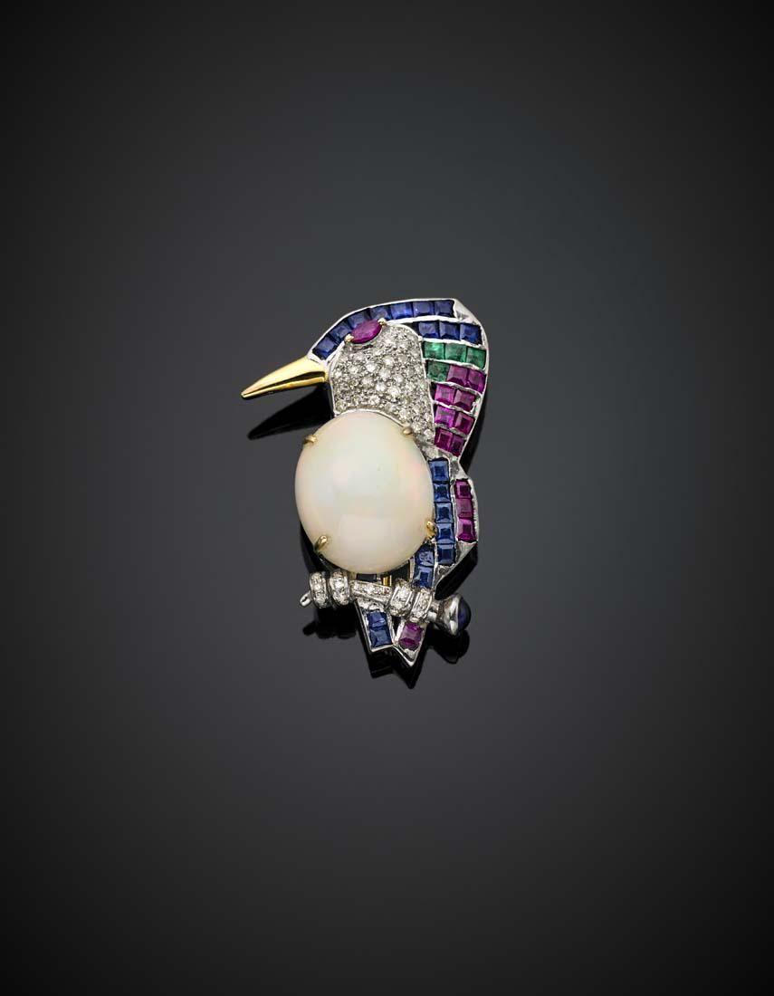 Oval mm 17.30x14.40x9.50 noble opal, diamond, ruby,